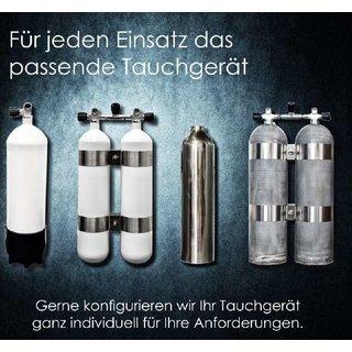 Faber Doppel 12 L lang/ 300 bar Hot Dipped TG mit V4tec Schellen und Absperrbrücke