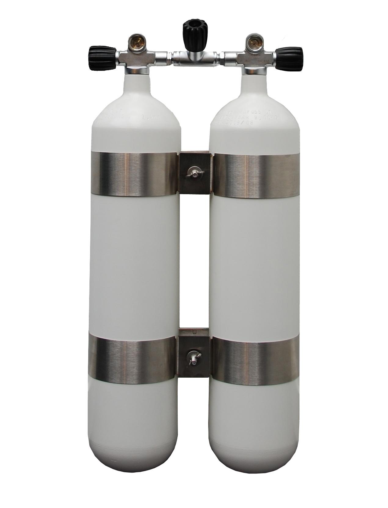 ECS Doppel 7 L /300 bar Stahl TG mit V4TEC Schellen und Absperrbrücke, Flaschenabstand 40mm