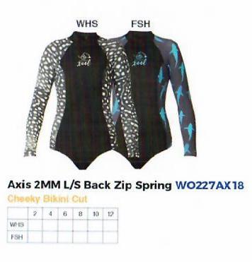 Ocean Ramsey Axis 2 mm L/S Back Zip Spring, verschiedene Größen und Desingn´s