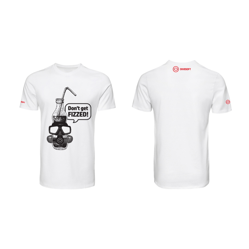 T-shirt DIVESOFT -  Don´t get fizzed - White